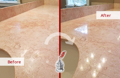 Before and After Picture of a Countertop Maintenance Service