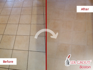 Before and after Picture of a Grout Cleaning Service in East Bridgewater, MA