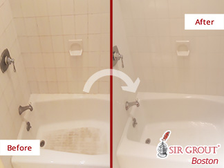 Before and after Picture of This Bathroom after Our Tile Cleaning Service in Auburndale, MA