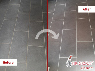 Before and after Picture of Our Grout Sealing Service in Billerica, Massachusetts