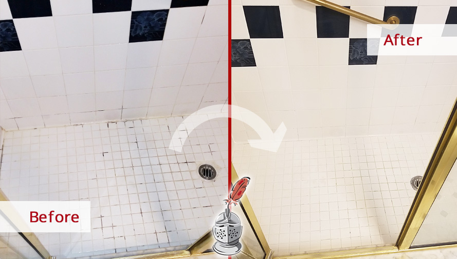 Before and after Picture of a Tile and Grout Cleaning Service in Boston, MA