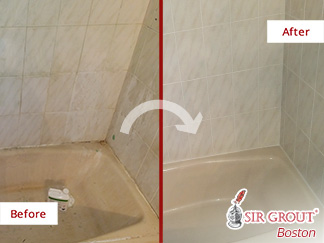 Before and after Picture of a Caulking Service in Boston, MA