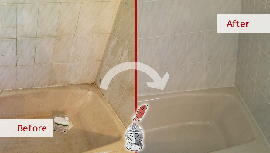 Before and after Picture of This Bathroom after a Caulking Service Job in Boston, MA