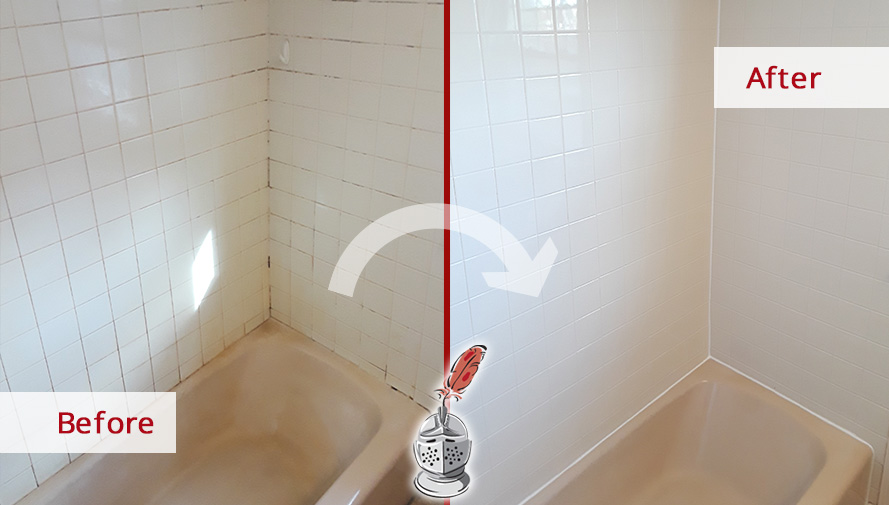 Before and after Picture of an Outstanding Grout Cleaning Service in Watertown, MA