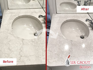 Before and after Picture of a Stone Polishing Job in Waltham, MA