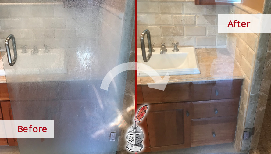 Before and after Picture of This Glass Door after a Cleaning Job in Carlisle, MA