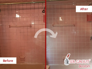 Before and After Picture of a Grout Cleaning Job in Watertown, MA