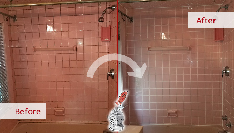 Shower Before and After a Grout Cleaning Service in Watertown, MA