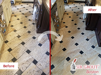 Before and After Picture of a Stone Cleaning Service in Sudbury, MA