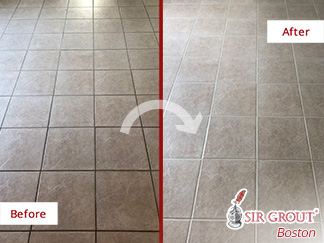 Before and After Picture of a Tile and Grout Cleaning Service in Franklin, MA