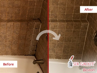 Before and After a Grout Sealing in Boston, MA