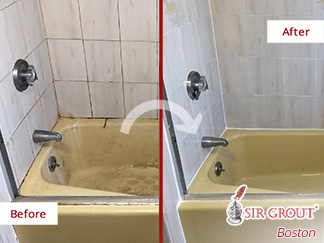 Before and After a Grout Cleaning in Somerville, MA