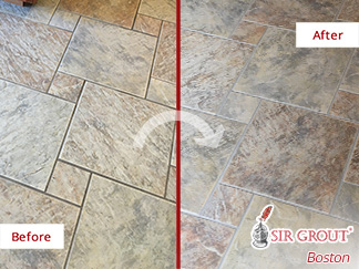 Before and After Picture of a Grout Sealing in West Newbury, MA