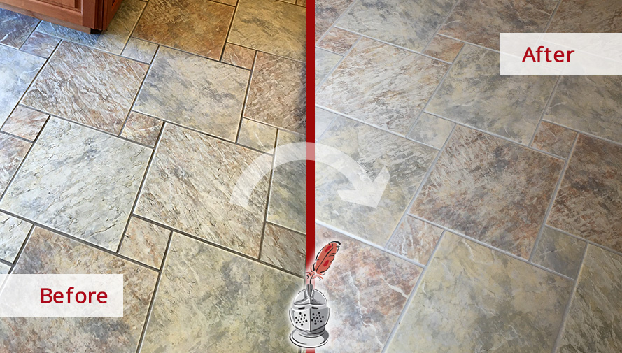 Floor Before and After of a Grout Sealing in West Newbury, MA