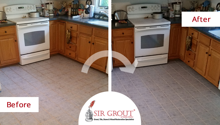 Grout Recoloring Spruces Up an Arlington Customer\'s Tiled Kitchen Floor