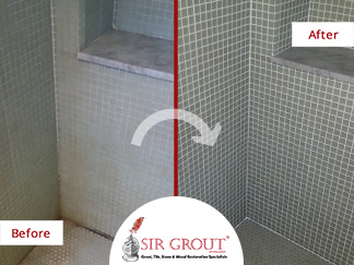 Soap Scum and Mold Plagued This Mosaic Tile Shower in Charlestown. Could a Grout Recoloring Make It Look New Again?