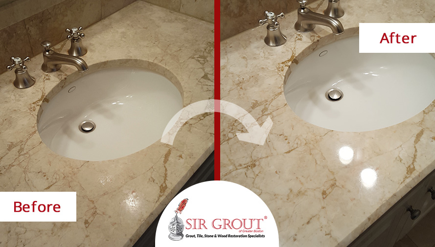 Home > Blog Stone Polishing in Boston Restores the Luxurious Appearance of This Marble Countertop and Shower