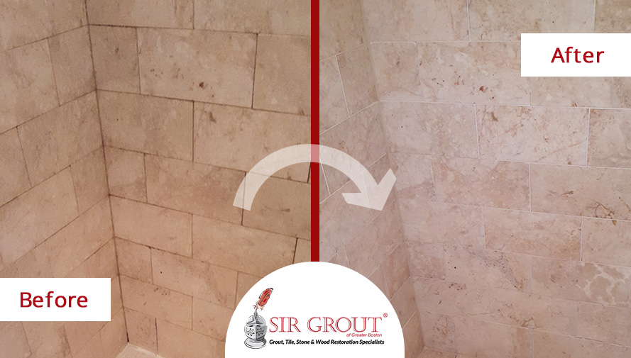Stone Polishing in Boston Restores the Luxurious Appearance of This Marble Countertop and Shower