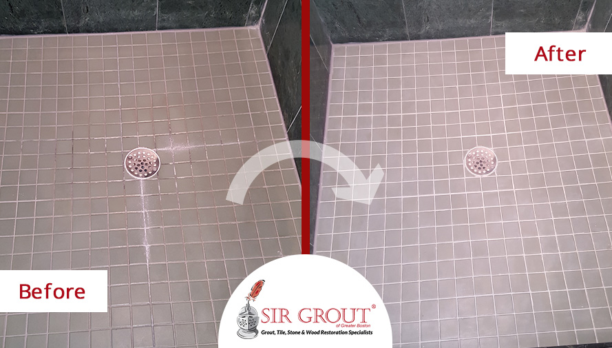 This Tile Shower in Wayland, Massachusetts Went from Dirty to Spotless with a Grout Cleaning and Sealing Job