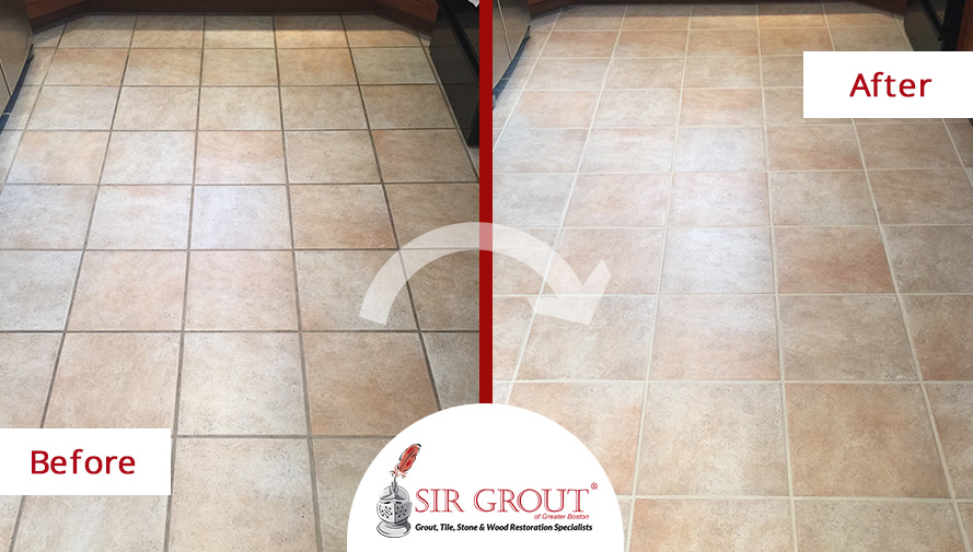 Kitchen Porcelain Floor Looks Spotless After a Grout Recoloring Job ...