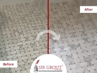 Before and After Pictures of a Grout Sealing Service on Braided Marble Floor in Watertown, MA
