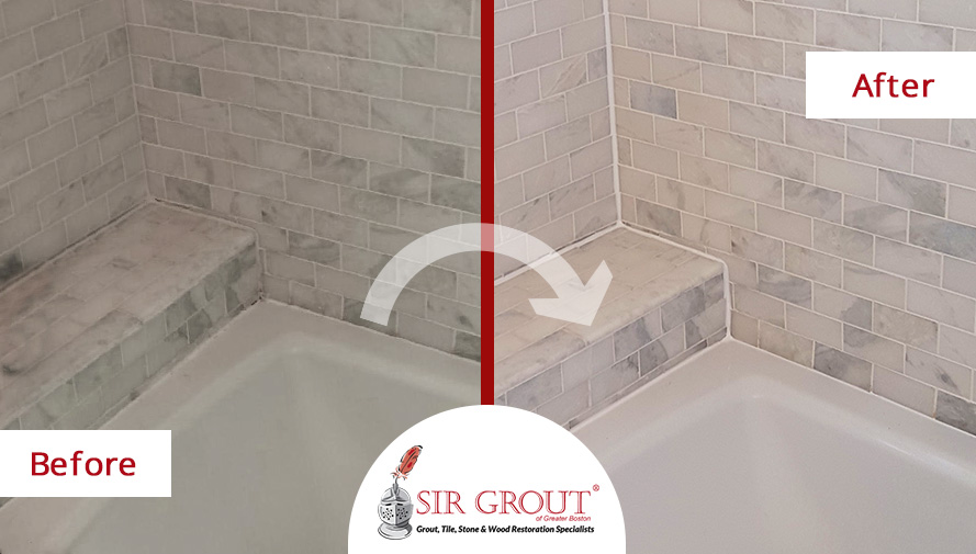 Before and After Pictures of a Grout Sealing Service Around the Tub