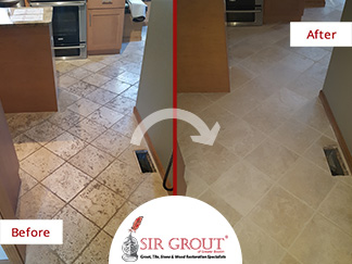 Before and After Picture of Stone Cleaning Perfomed on Tumbled Marble Floor in Shrewsbury, MA