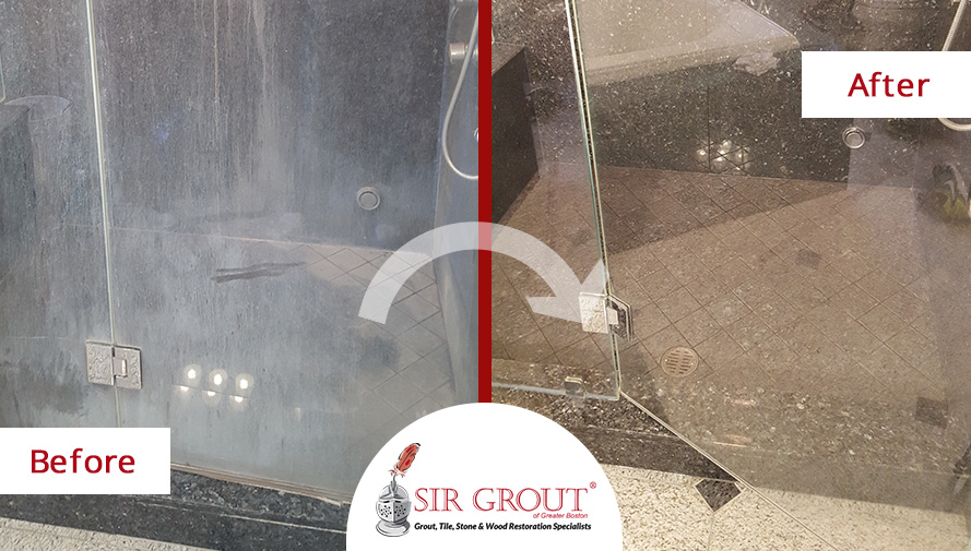 Before and After Picture of the Shower Door During a Stone Polishing Service in a Bathroom from Lexington, MA