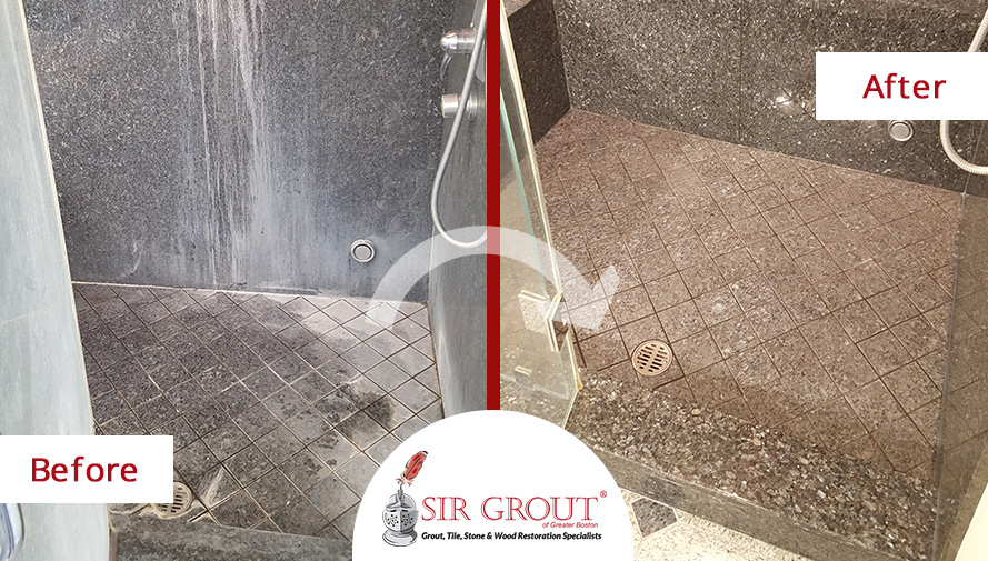 Before and After Picture of a Granite Stone Polishing Service in a Shower from Lexington, Massachusetts