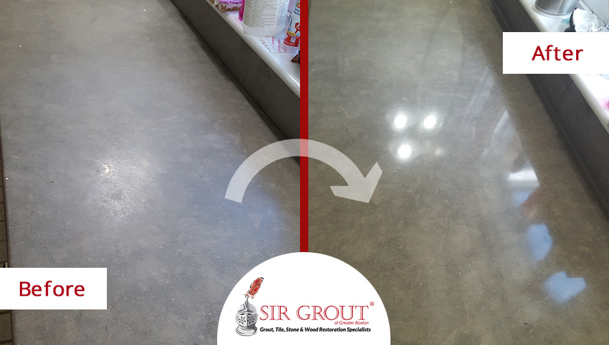 Before and After Picture of a Honing and Polishing Service on a Limestone Countertop