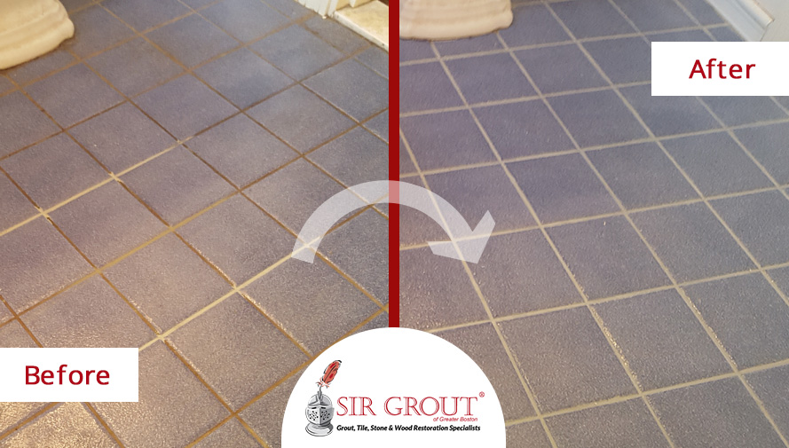 Before and After Picture of a Recaulking and GroutService in Wellesley, MA