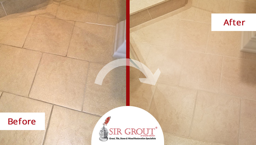 Before and After Picture of a Porcelain Tile Bathroom Grout Sealing Service in Quincy, MA