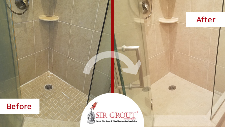 Before and After Picture of a Tile Shower Grout Sealing Service in Quincy, MA