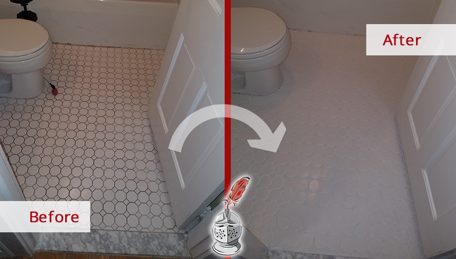 Before and After Picture of a Bathroom's Floor Tile Cleaning Service in Wakefield, Massachusetts