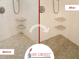 Before and After Picture of a Grout Cleaning and Recoloring Service for a Home Owner in Waban, MA
