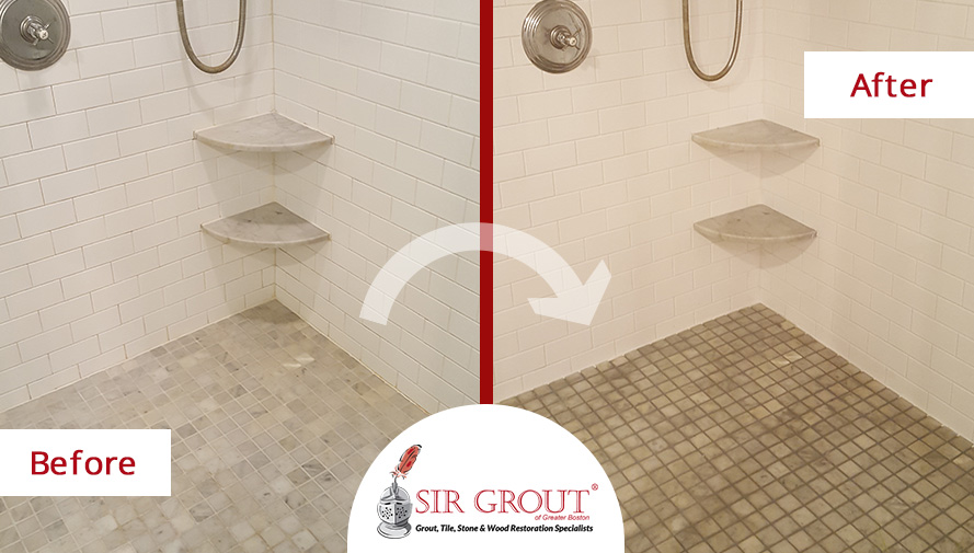 Before and After Picture of a Grout Cleaning and Recoloring Service for a Home Owner in Waban, Massachusetts