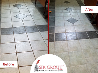 Before and After Picture of a Tile Floor Grout Cleaning Service in Burlington, MA