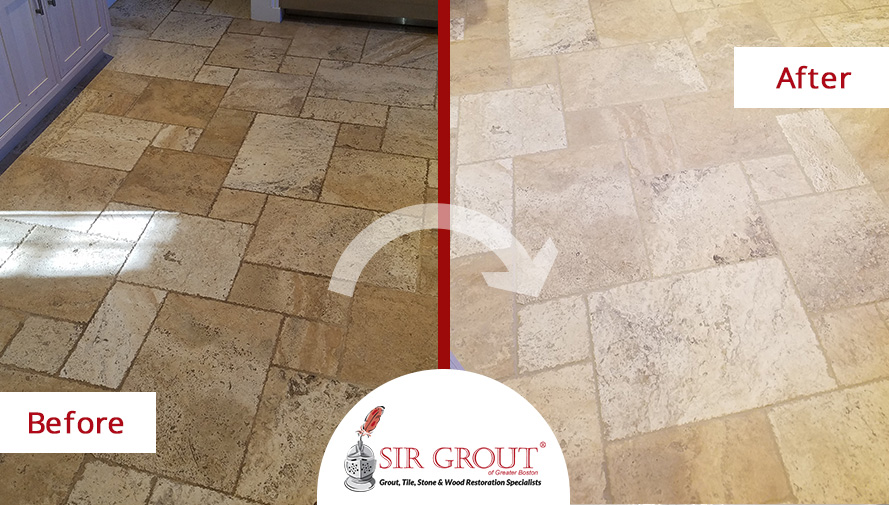 Before and After a Grout Cleaning Service on a Travertine Kitchen Floor in Newton, Massachusetts