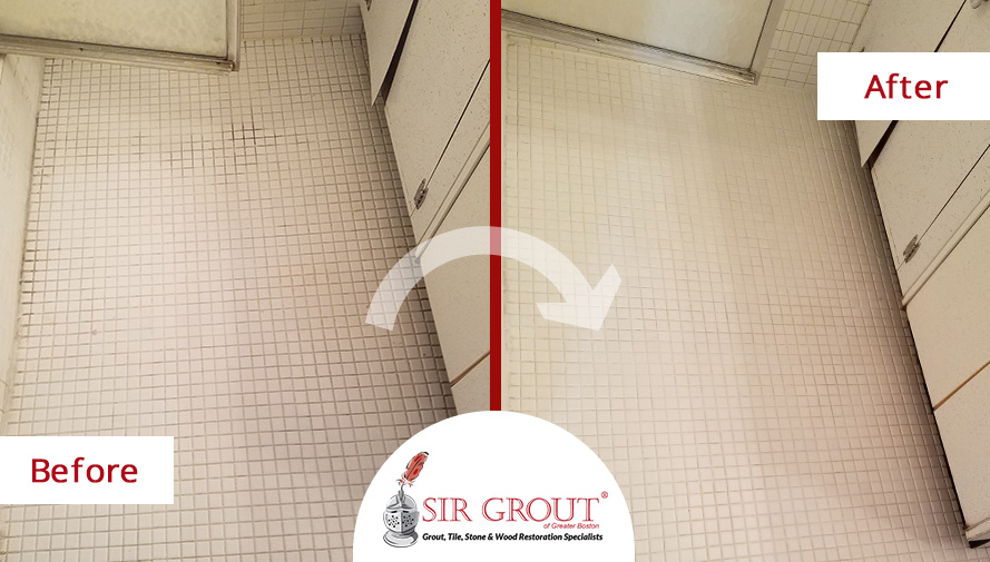 Before and After Picture of a Tile and Grout Cleaners in Brookline Village, MA
