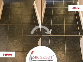 Before and After Picture of a Grout Recoloring Service in Bedford, MA