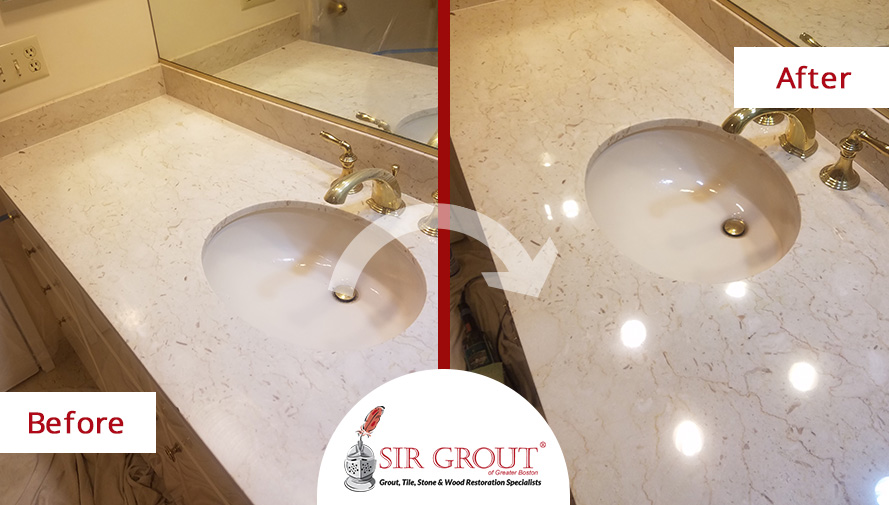 Before and After Picture of a Stone Honing and Polishing Service in Newton Center, MA