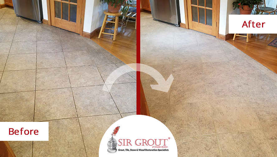 Before and After Picture of a Floor Tile Cleaning in Millis, MA