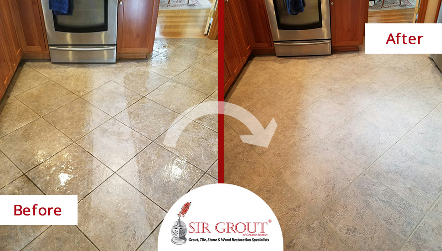 Before and After Picture of a Floor Tile Cleaning Service in Millis, MA