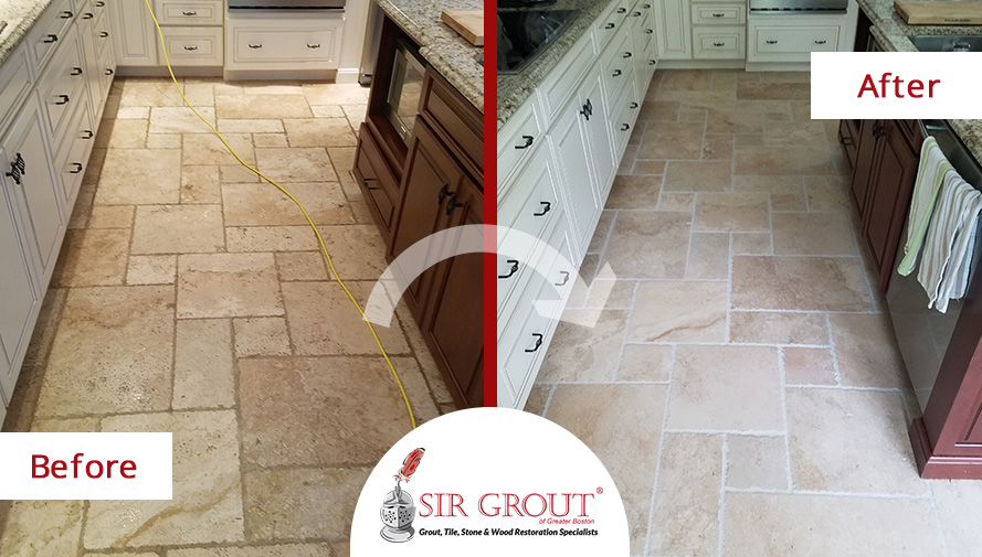 Before and After Picture of a Stone Sealing Service in Newton Center, MA