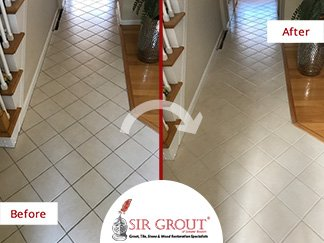 Before and After Picture of a Floor Grout Cleaning Service in Braintree, MA