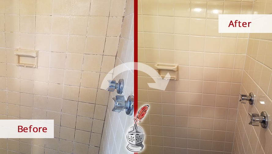 Before and After Picture of a Shower After our Tile and Grout Cleaners Services in Weston, Massachussets