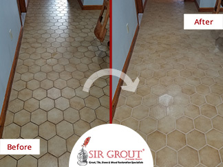 Before and After Picture of a Tile and Grout Cleaning in Boston, Massachusetts