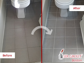 Look How This Bathroom Tile Floor Was Renewed after a Grout Cleaning Job in Boston Massachusetts