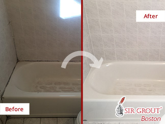 Before and after Picture of This Tile Sealing Job Done in Needham, MA, to Prevent Water Damage in this shower