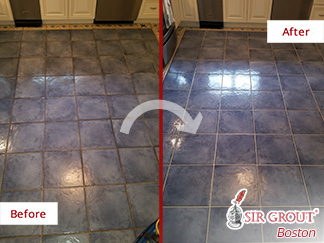 Before and After Picture of a Ceramic Tile Floor Grout Cleaning in Quincy, Massachusetts
